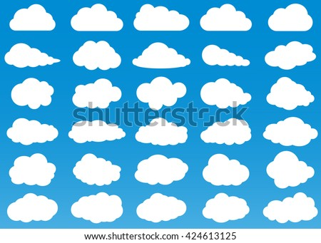 cloud vector icon set white