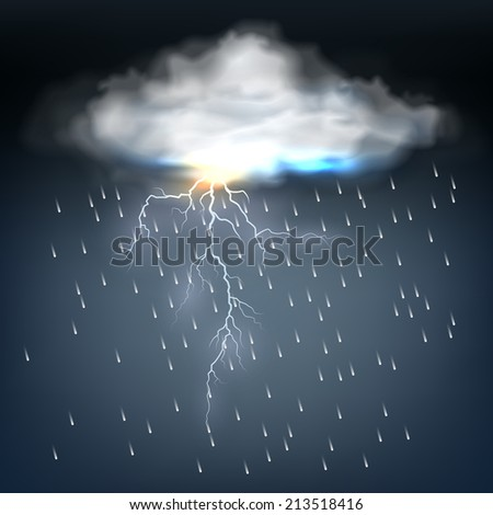 Cloud with rain and a lightning bolt in a discharge of electrical energy during a thunderstorm in a dark threatening sky  vector illustration
