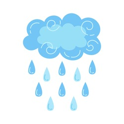Cloud with rain cartoon style. Abstract flat bad weather colors hand drawn symbol. Cute thunderstorm, bright nature weather element. Vector meteorological infographics