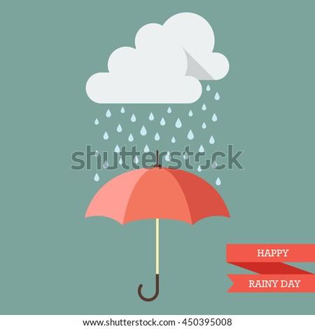 Cloud with Rain drop on umbrella. Flat style vector illustration