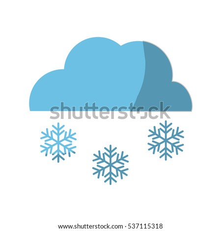 cloud with snowflakes weather icon over white background. colorful design. vector illustration