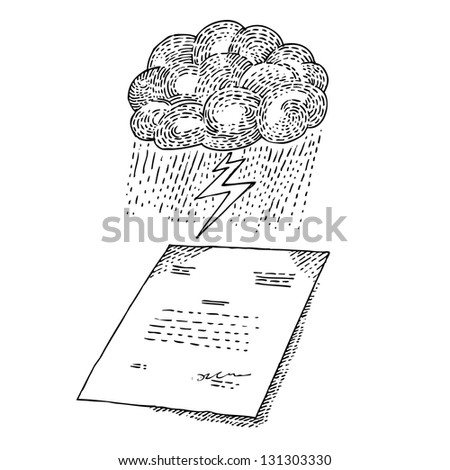 Cloud with storm and document