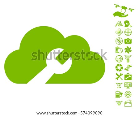 Cloud Wrench Tools icon with bonus airdrone service pictograph collection. Vector illustration style is flat iconic symbols on white background.