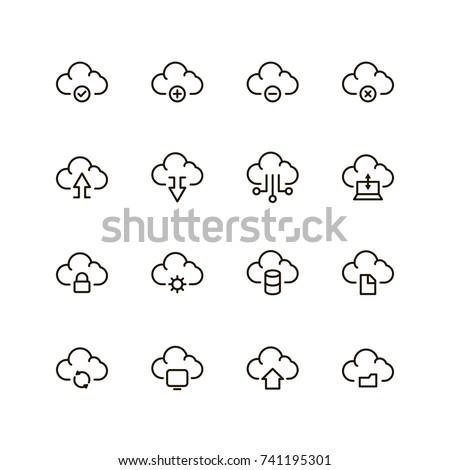 Cloude flat icon. Single high quality outline symbol of server for web design or mobile app. Thin line signs of system for design logo, visit card, etc. Outline logo of network