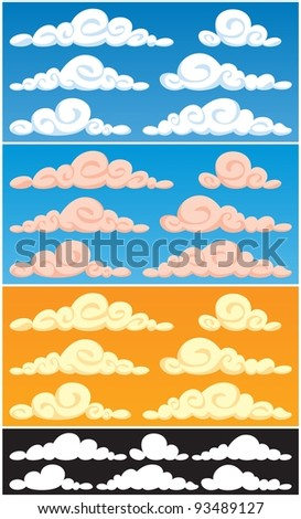 Clouds: A collection of cartoon clouds in 3 color versions and silhouettes. Each cloud consists of 2 colors only, so they are very easy to recolor.