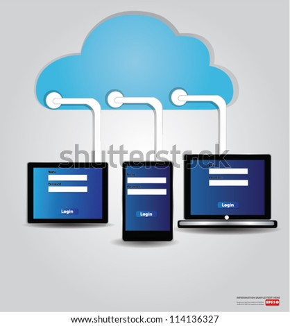 Clouds and and mobile phone,computer,Vector
