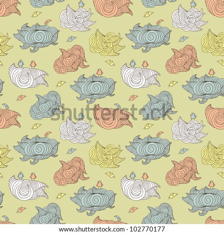 clouds and birds seamless pattern