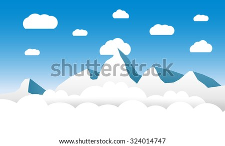 clouds and mountains at blue