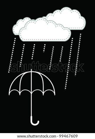 Clouds and rain drop on the umbrella - Vector