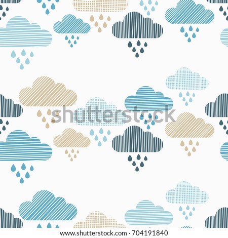 clouds and rain drops seamless