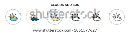 clouds and sun icon in filled