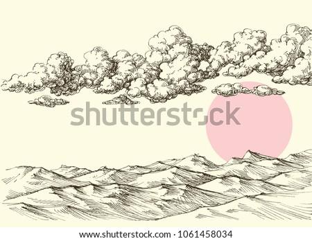 Clouds and sun over desert sand dunes. Desert landscape drawing