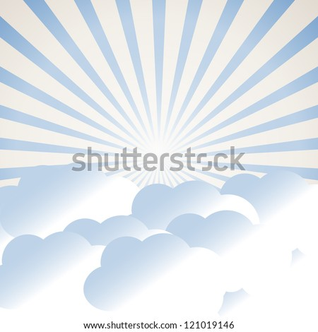 clouds and sun rays - stock vector