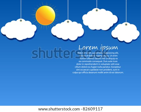 Clouds and the sun in the blue sky. Vector.