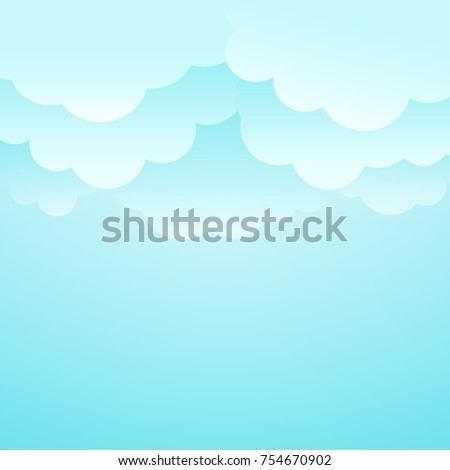 Clouds background. Vector illustration. EPS 10. Billboard.  Bright sky background. Blue and white clouds on blue sky. Template for title or text.