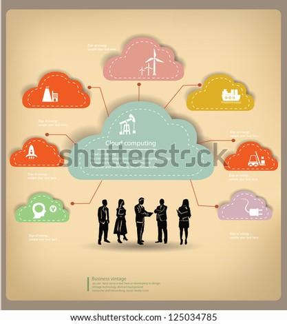 Clouds,business concept,vintage,vector