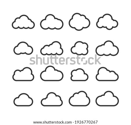 Clouds collection. Cloud vector icons. Clouds in line simple design. Vector illustration