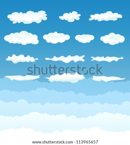 Clouds Collection/ Illustration of a set of various cartoon clouds and cloudscape on a blue sky gradient background