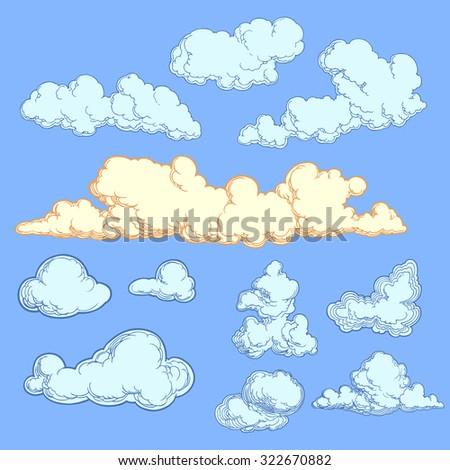 Clouds. Design set. Hand drawn engraving. Vector vintage illustration. 8 EPS