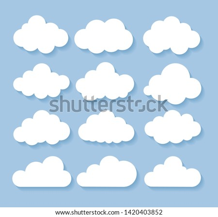 Clouds icon, vector illustration. Cloud symbol or logo, different clouds set. Flat design.