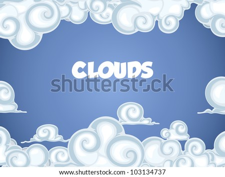 Clouds In Blue Sky. Frame For Text