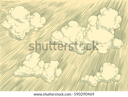 clouds in the sky hand drawn