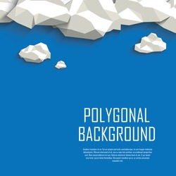 Clouds in the sky polygonal background. Low poly abstract concept with blank space for your text. Eps10 vector illustration.