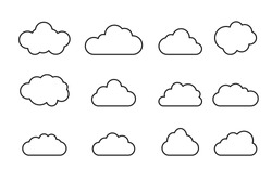 clouds lines collection. icons Vector illustration