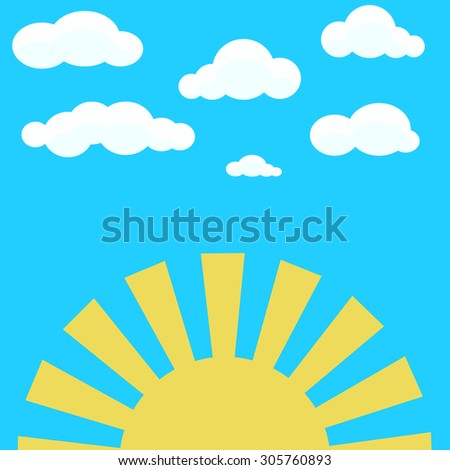 clouds on blue sky and yellow