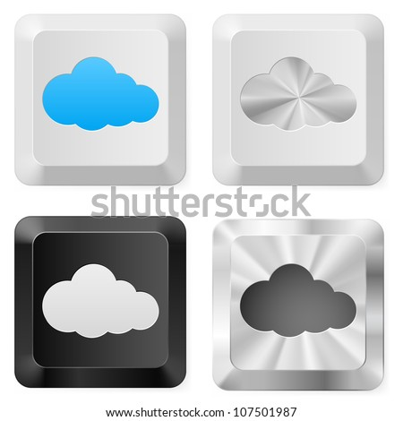 Clouds on the buttons. Illustration for design on white background