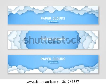 Clouds papercut banner templates set. 3d cloudscape background. Volumetric horizontal skyline origami paper art with text space