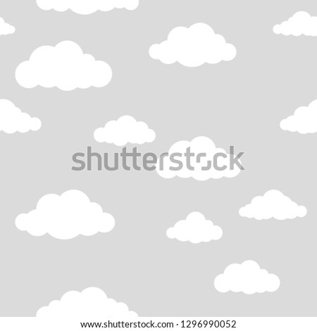 Clouds parrern on grey. Seamless pattern.