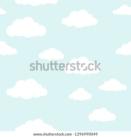Clouds parrern on ligth blue. Seamless vector
