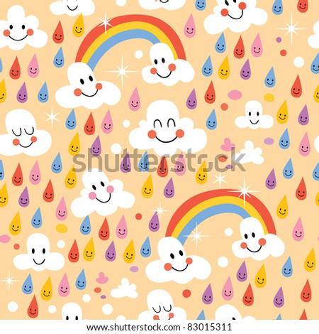 clouds rainbows rain drops seamless pattern
