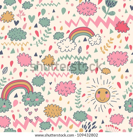 Clouds rainbows rain drops seamless pattern. Vector doodle illustration.