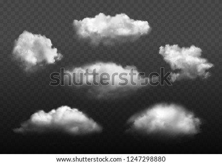 Clouds realistic. Blue cloudy sky weather elements vector picture set