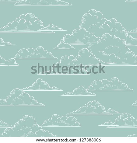Clouds seamless pattern hand-drawn illustration