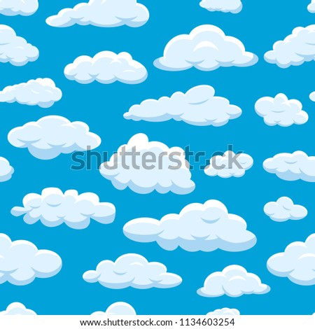 Clouds seamless pattern on blue sky background cloudy bright vector cloudscape. Nature air weather fluffy white cloud illustration. Beautiful overcast climate symbol. Cartoon cloud set.