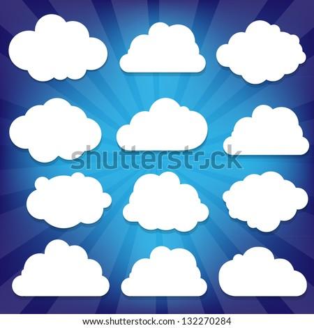 Clouds Set And Blue Sunburst With Gradient Mesh, Vector Illustration