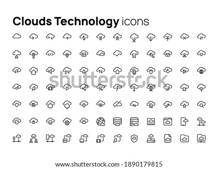 Clouds Technology. High quality concepts of linear minimalistic vector icon set for web sites, interface of mobile applications and design of printed products.