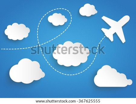 clouds with paper jet on the