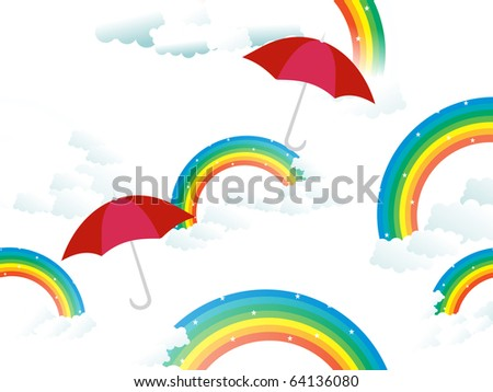 cloudy background with rainbow and set of maroon umbrella