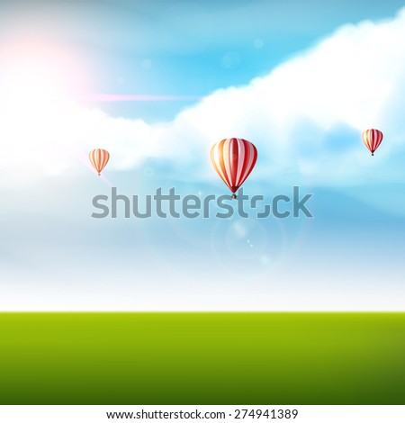 cloudy blue sky with colorful
