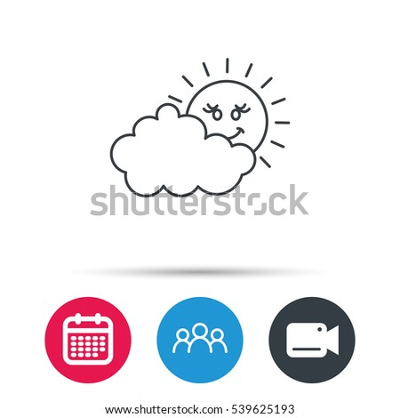 cloudy day with sun icon