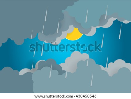 cloudy raining day with the sun background vector
