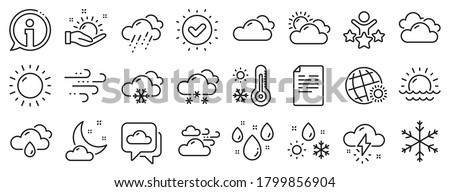Cloudy sky, winter snowflake, thermometer. Weather and forecast line icons. Moon night, rain and sunset icons. Weather temperature, meteorology forecast and wind, thunder bolt. Vector