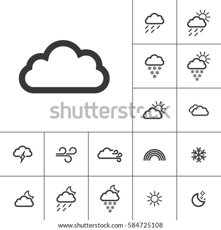 cloudy weather icons with