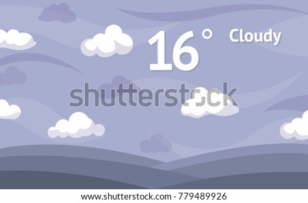 Cloudy weather widget vector background.
