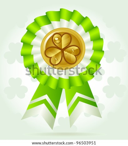 Clover award on St. PatricK`s Day with gold coin