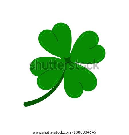 Clover four leaf icon isolated on white background. Green good luck shamrock clover plant. Flat design cartoon style vector illustration. Traditional Irish symbol for St. Patrick's day. Foto stock ©